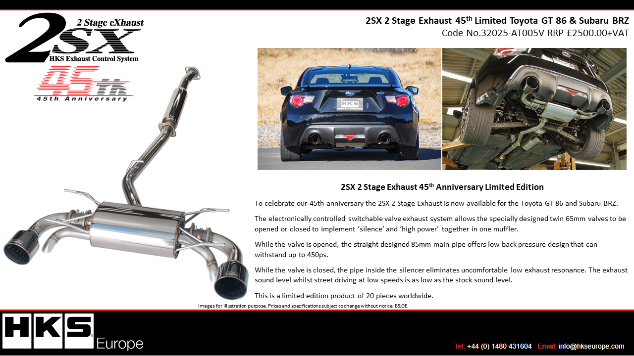 32025-AT005V 2SX 2 Stage Exhaust 45th Limited Toyota GT 86
